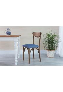 Cadeira De Madeira Tipo Restaurante Estofada Amélie - Stain Nogueira - Tec.930 Azul Claro - 44,5X45X81 Cm