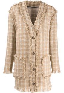Msgm Checked Tweed Jacket - Neutro