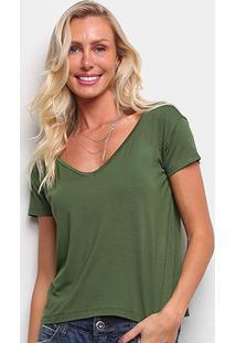 Blusas Volare Feminino Blusa Em Viscolycra. Decote V-Nsf9033 - Feminino-Verde Escuro