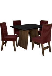 Conjunto De Mesa Para Sala De Jantar Com 4 Cadeiras Vigo -Dobuê Movelaria - Castanho / Preto / Vinho Bord