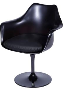 Cadeira Saarinen Tulipa Preta Com Braço Assento Preto