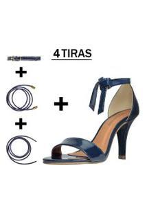 Sandália Troca Tira Salto Alto Fino Luiza Sobreira Verniz Azul Marinho Mod. 1051-2