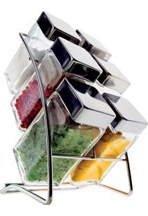 Porta Condimentos Square 6 Peças - Euro Home Transparente