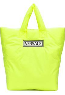 Versace Bolsa Tote Vintage 90S Com Logo - Verde