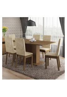 Conjunto Sala De Jantar Susan Madesa Mesa Tampo De Madeira Com 6 Cadeiras Rustic/Imperial