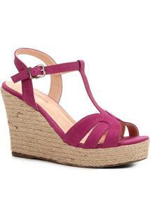 Sandália Plataforma Shoestock Tiras Corda Feminina - Feminino-Rosa