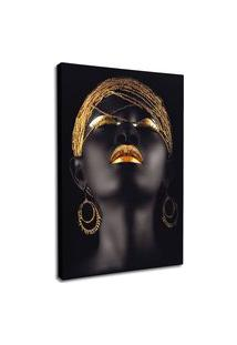 Quadro 75X50Cm Mulher Negra Maquiagem Dourada Beltza Em Canvas Decorativo