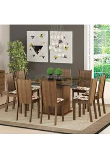 Conjunto Sala De Jantar Madesa Camila Mesa Tampo De Vidro Com 8 Cadeiras Marrom