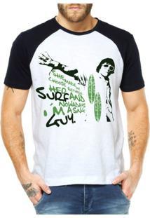 Camiseta Raglan Criativa Urbana Surf Choice - Masculino-Branco
