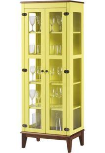 Cristaleira Bia 2 Portas Cor Amarelo Com Base Amendoa 180 Cm - 62928 - Sun House