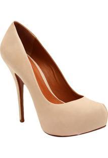 Sapato Meia Pata Liso Em Couro - Bege Claro- Salto: Schutz