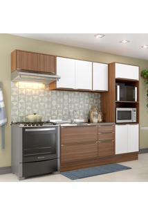 Cozinha Compacta 9 Portas 3 Gavetas 5457R Nogueira/Branco - Multimóveis