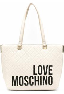 Love Moschino Bolsa Tote Com Estampa De Logo - Branco