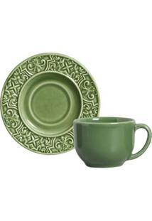 Conjunto De Xícaras Para Chá La Tavola Em Cerâmica 161 Ml Com 06 Peças Verde Sálvia - Porto Brasil