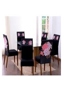 Kit 4 Capas Para Cadeira Jantar Malha Elástico Paris Est.3