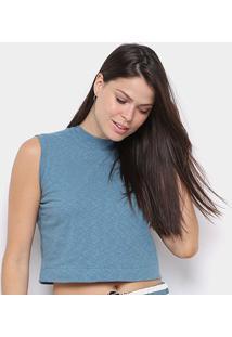 Blusa Osklen Cropped Rustic Feminina - Feminino-Azul Escuro