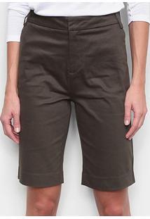 Bermuda Calvin Klein Alfaiataria Feminina - Feminino-Verde Militar