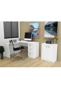 Conjunto Home Office 2 Peças Tecno Mobili: 1 Escrivaninha Em L E 1 Balcão - Branco - Multistock