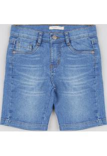 Bermuda Jeans Infantil Slim Com Bolsos Azul Claro