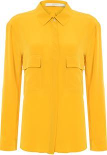 Camisa Feminina Seda Lisa Bolsos - Amarelo