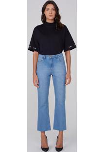 Calça Jeans Cropped Flare Em Algodão - Azul Claro