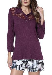 Blusa Moché Gola Camisa - Feminino-Roxo