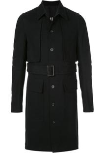 Rick Owens Belted Cotton Trench Coat - Preto