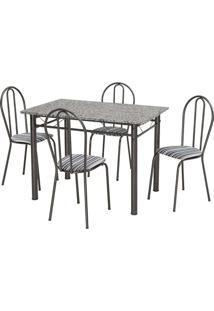Conjunto De Mesa Monique Com 4 Cadeiras Craqueado Preto Listrado