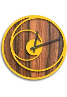 Relógio De Parede Premium Amadeirado Com Relevo Amarelo 50Cm Grande