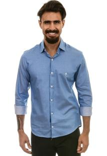 Camisa Bypride Manga Longa Poá Azul