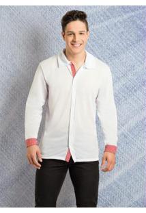 Camisa Branca E Vermelha Com Detalhe Listrado