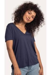 Camiseta Cora Básico Decote V Ampla Modal Feminina - Feminino
