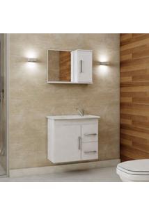Gabinete De Banheiro Com Cuba E Espelheira 2 Portas 2 Gavetas Vix Mgm Móveis Branca