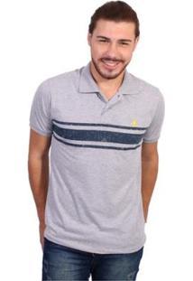 Camisa Polo England Polo Club Listrada - Masculino-Cinza Claro