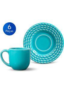 Conjunto 6 Xícaras De Café Com Pires Olímpia - Porto Brasil - Azul Claro