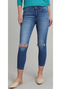 Calça Jeans Feminina Skinny Cropped Com Rasgo Azul