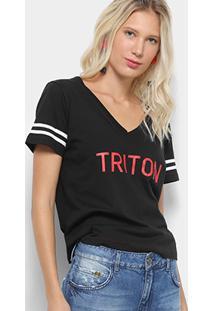 Camiseta Triton Gola V Logo Listras Feminina - Feminino-Preto