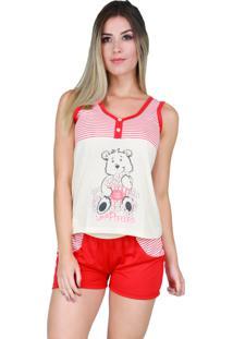 Pijama De Botão Blusinha Short Bravaa Modas 006 Vermelho.
