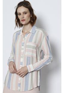 Camisa Listrada Com Linho & Bolso- Azul & Off Whitetvz