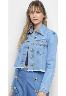 Jaqueta Jeans Cropped Lança Perfume Trucker Botões Feminina - Feminino-Azul