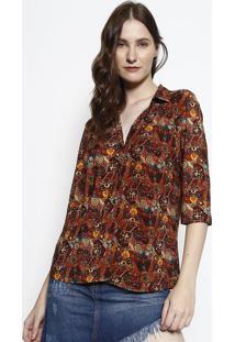 Camisa Floral- Marrom & Amarela- Intensintens