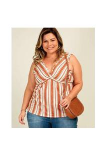 Blusa Plus Size Feminina Regata Listrada Marisa