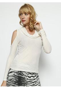 Blusa Com Fios Metalizados- Branca- Moisellemoisele