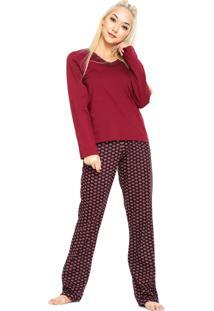 Pijama Hering Floral Renda Vinho/Preto