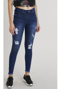 Calça Jeans Feminina Sawary Super Skinny Levanta Bumbum Com Barra Desfiada Azul Escuro