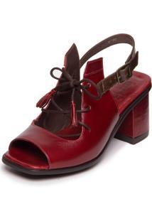 Sandalia Vermelha Feminina Ava Gardner - Amora / Chocolate 7427 - Vermelho - Feminino - Dafiti