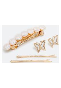 Conjunto Com Brinco De Madrepérola E Grampos De Cabelo | Accessories | Dourado | U