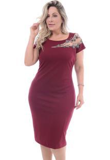 Vestido Plus Size Valioso: Bordô: 46