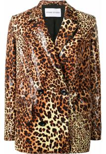Stand Studio Blazer Com Abotoamento Duplo E Estampa De Leopardo - Azul