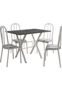 Conjunto De Mesa Miami 4 Cadeiras Branco/Preto Listrado Fabone Móveis Tubulares